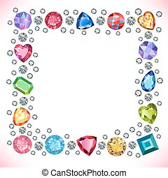 Colored gems square shape frame isolated on light...