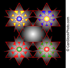 Colored geometric figures magendavid on a black background -...
