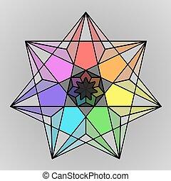 Colored geometric rainbow star symb