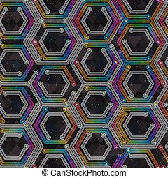 Colored geometric seamless pattern