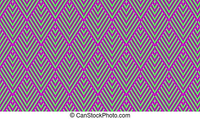 Colored geometric shapes moving on a green background
