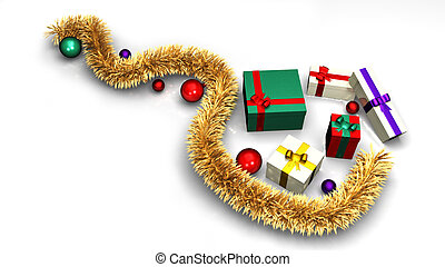 Colored gifts with a golden piece of tinsel and balls on a white background