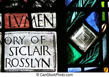 Colored Glass - A close up section of a stained glass window...