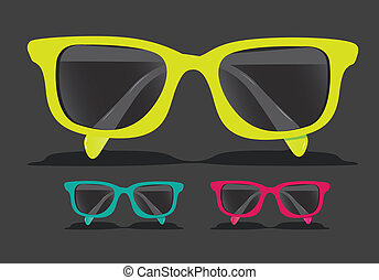 Colored glasses - set of colored glasses, Vector ...