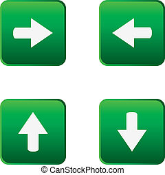 Colored glossy web buttons with arrow