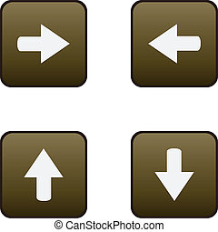 Colored glossy web buttons with arrow - 4 web vector button ...