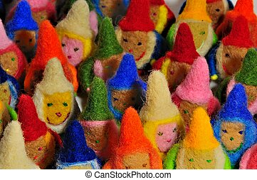 colored gnomes - soft toys - many colored gnomes, close-up