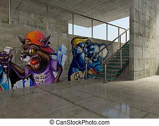 graffiti - colored graffiti on parking wall