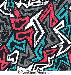 colored graffiti seamless pattern with grunge effect