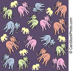 Colored graphic pattern with elephants