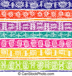 Colored grunge background with ethnic motifs
