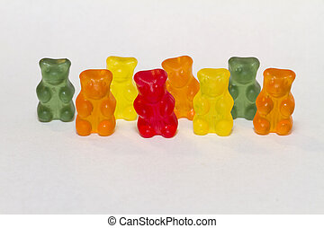 gummy bears in a row - colored gummy bears in a row