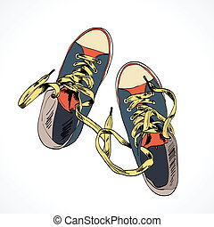 Colored funky gumshoes fashion sneakers isolated on white background vector illustration