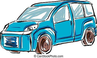 Colored hand drawn car on white background, illustration of...