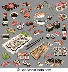 Colored Hand drawn sushi set