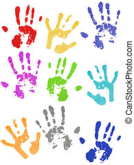 Colored hand prints on white ground