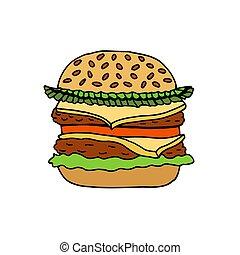 Colored hand sketch hamburger