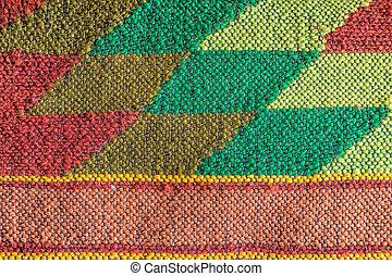 Colored handmade fabric. Made on a loom.