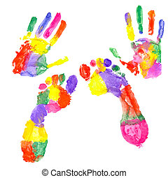 Colored handprint and colored footprint