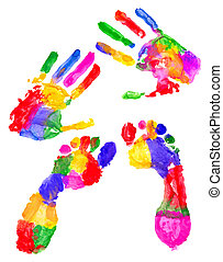 Colored handprint and colored footprint on white