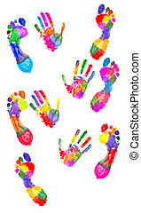Colored handprint and footprint