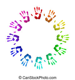 Colored handprints - Colorful handprints, on white, of human...