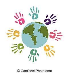 colored hands around of world