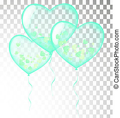 colored heart balloons green. Isolated on white background transparent
