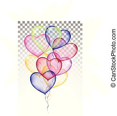 colored heart balloons. Isolated on white background transparent