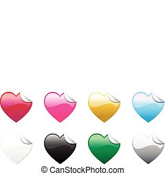 Colored Hearts Stickers