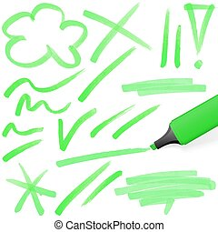 colored highlighter with markings - green colored...