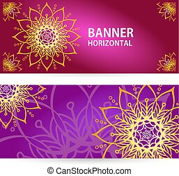 colored Horizontal banners with Oriental motifs.