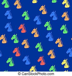 Colored Horse Head Seamless Pattern