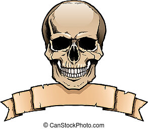 Colored human skull with ribbon banner