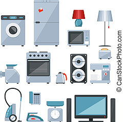 Colored icons of home appliances