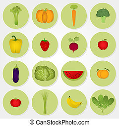Colored icons of vegetables and fru