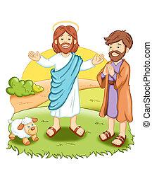 Jesus - colored illustration of Jesus
