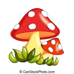 mushrooms - colored illustration of mushrooms