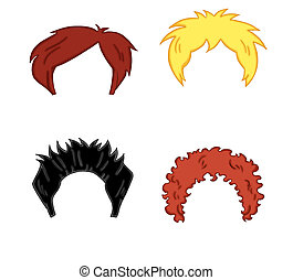 colored illustration of wigs for man and children
