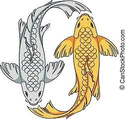 Colored illustration with gold and silver colored koi carp fish. Isolated vector objects.