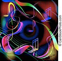 colored image crazy music - dark background and abstract...