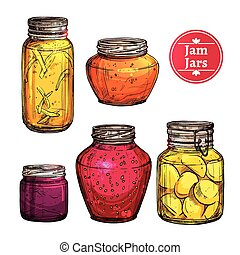 Colored Jam Jars