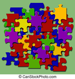 Colored Jigsaw Pieces - jumbled pieces of a jigsaw in multi...