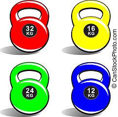 Colored kettlebells on white