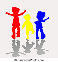 colored kids silhouettes 2