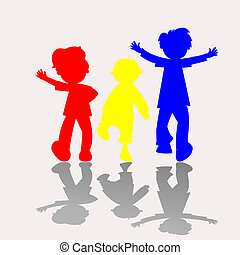 colored kids silhouettes