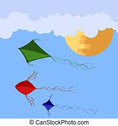 Kites Flying in Blue Sky with Sun and Clouds. Freedom Concept. Toy for Children