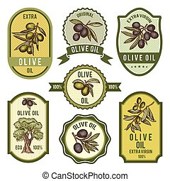 Colored labels for package design. Pictures of olive oil
