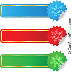Colored labels selling the new year. Illustration on white background for design