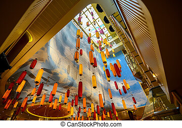 Colored lamps hanging from the ceiling